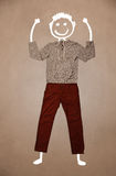 Casual clothes with hand drawn funny character Royalty Free Stock Images