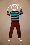 Casual clothes with hand drawn funny character Royalty Free Stock Image