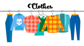 Casual Clothes Hipster Shirt Collection Show Room Shop. Flat Vector Illustration Stock Photos
