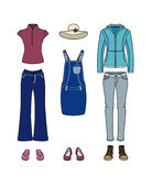 Casual clothes for women. Set of clothing for women on vacation Stock Illustration