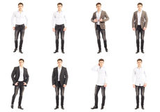 Casual clothing concept - same model in different style clothes. Casual clothing concept - same man in different style clothes Royalty Free Stock Images