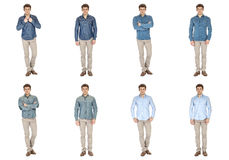 Casual clothing concept - same model in different style clothes Royalty Free Stock Images