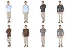 Casual clothing concept - same model in different style clothes Stock Photos