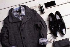 Casual clothing set stylish men. Advertising clothes of male shop. Casual clothing set stylish men Stock Photography
