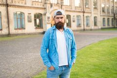 Casual and comfortable. Hipster lifestyle. Cool hipster with beard wear stylish baseball cap. Brutal handsome hipster. Man resting on summer day. Bearded man stock photos