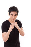 Casual, confident man posing street fight gesture Stock Photos