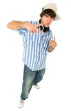 Casual cool young guy. Gesturing Royalty Free Stock Image