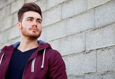 Casual cool young man with beard Royalty Free Stock Photography