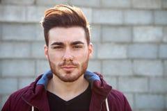Casual cool young man with beard Stock Photos