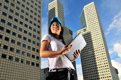 Casual Corporate 2. Picture of girl in casual attire. Can signify an intern, a dressed down friday or picture of a friendly face in the serious corporate world Stock Image
