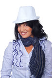 Casual corporate woman with white hat royalty free stock image