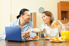 Casual couple   during breakfast time at home Stock Photography