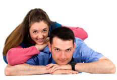 Casual Couple on the floor Royalty Free Stock Photos