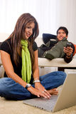 Casual couple at home Stock Photography