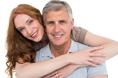 Casual couple hugging and smiling Royalty Free Stock Image