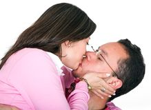 Casual couple kissing Royalty Free Stock Photos