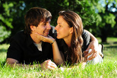 Casual couple in love. In park Stock Photo