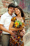 Casual couple in love. In public place Royalty Free Stock Images