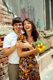 Casual couple in love. In public place Royalty Free Stock Photos