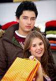 Casual couple shopping Royalty Free Stock Image