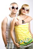 Casual couple with sunglasses royalty free stock image
