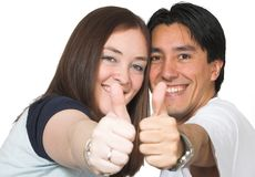 Casual couple thumbs up Royalty Free Stock Photo