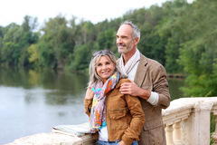 Casual couple visiting countryside Stock Images