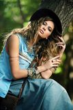 Casual denim style royalty free stock photography