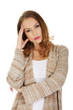 Casual depressed woman. Royalty Free Stock Photography