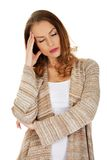 Casual depressed woman. Royalty Free Stock Photo