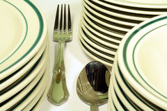 Casual Dinnerware and Silverware. This is a close up image of casual dinnerware and silverware stock photography