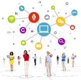 Casual Diverse People Technology Connection Concept Royalty Free Stock Photo
