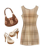 Casual dress, shoes and handbag. Royalty Free Stock Images