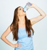Casual dressed caucasian woman drink water Royalty Free Stock Photography