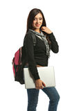 Casual Dressed College Student Holding Laptop Stock Image