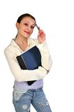 Casual dressed female college student Stock Photos