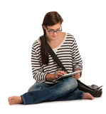 Casual Dressed Female College Student Reading Book Stock Images