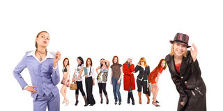 Casual dressed girls Stock Images