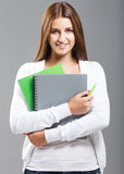 Casual dressed high school student girl Stock Photos