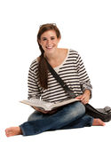 Casual Dressed High School Student Holding Books Royalty Free Stock Images