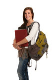 Casual Dressed High School Student Holding Books Stock Photos