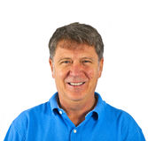 Casual dressed smiling senior man in the studio Stock Photography