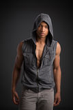 Casual Dressed Young African American Male Fashion Model Natural Royalty Free Stock Images