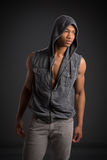 Casual Dressed Young African American Male Fashion Model Natural Royalty Free Stock Photography