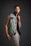 Casual Dressed Young African American Male Fashion Model Natural Stock Photography