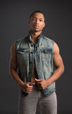 Casual Dressed Young African American Male Fashion Model Natural Stock Images