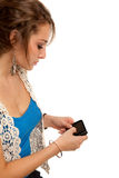 Casual Dressed Young Student Texting on Cell Phone Stock Photos
