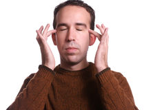 Casual Emotional Freedom Technique. Closeup view of a man using EFT tapping to help relieve various ailments Royalty Free Stock Photography