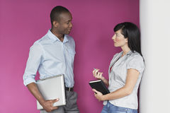 Casual Executives Talking Against Pink Wall Royalty Free Stock Photography