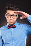 Casual fashion man making a military salute Stock Photo
